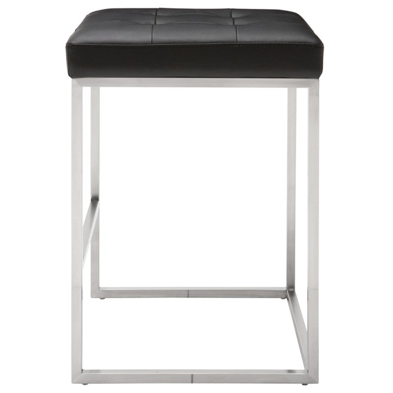 Chi Black Counter Stool - Stainless Steel