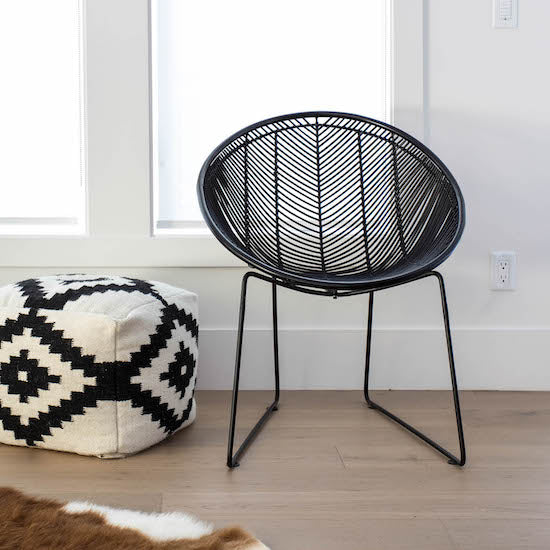 Rattan Black Weave Chair