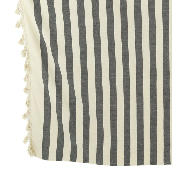 Black/Ivory Striped Woven Throw