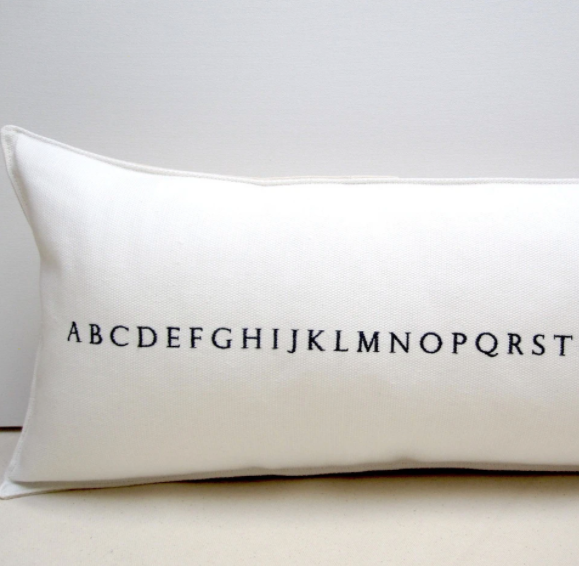 White Alphabet Pillow