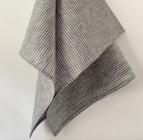Linen Kitchen Cloth - Grey/White Stripe