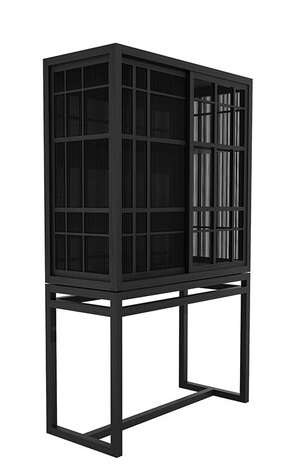 Oak Burung Black Storage Cupboard