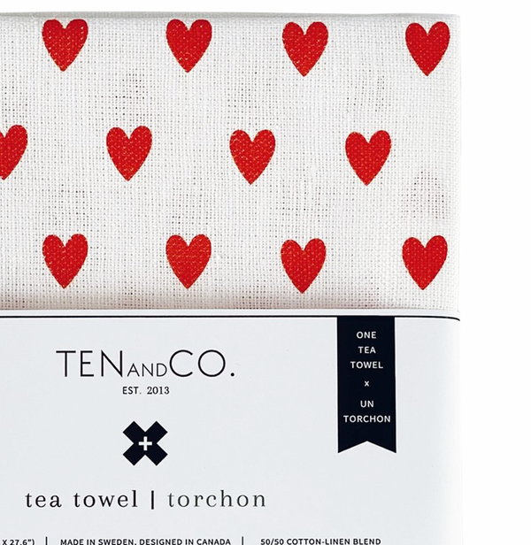 Tea Towel - Tiny Hearts Bright Red
