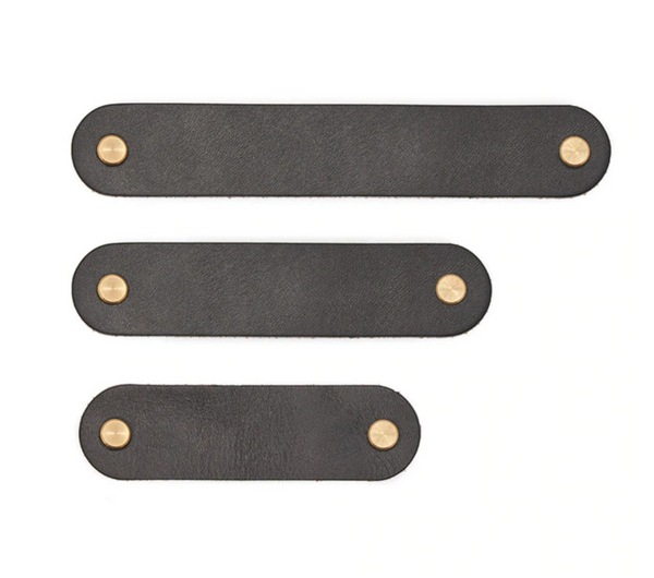 Leather Drawer Pull - Black