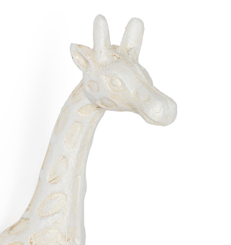 Antiqued White Giraffe Double Wall Hook Cast Iron
