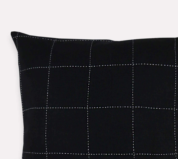 Grid-Stitch Pillow - Charcoal