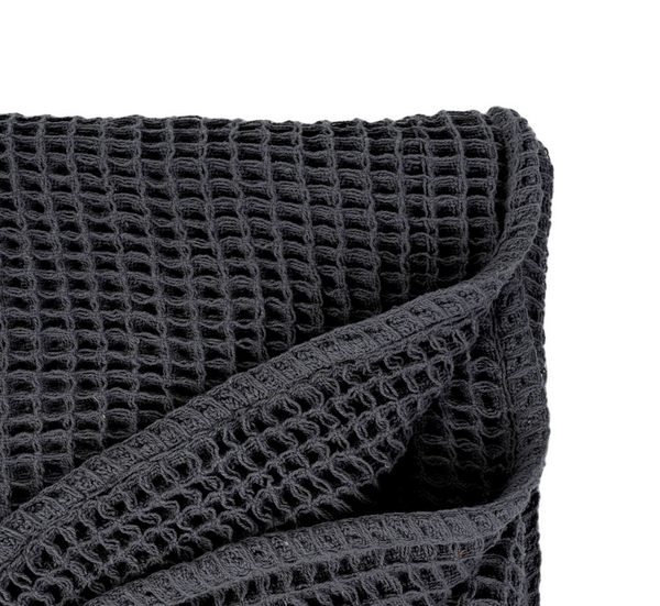 Waffle Woven Throw - Charcoal