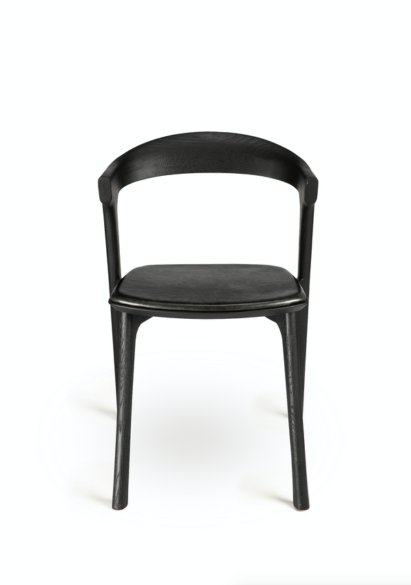 Oak Bok Dining Chair - Black Leather