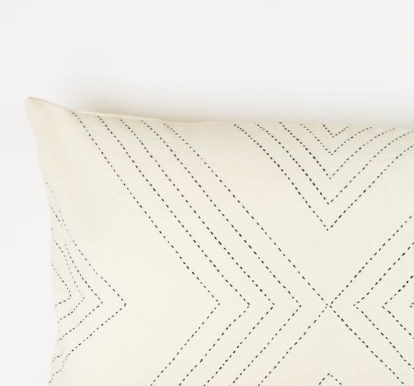 Geometric Stitch Lumbar Pillow - Bone