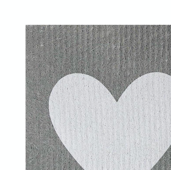 Sponge Cloth - Big Love White on Grey
