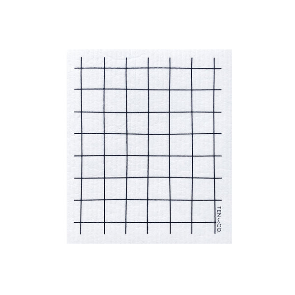 Sponge Cloth - White Grid