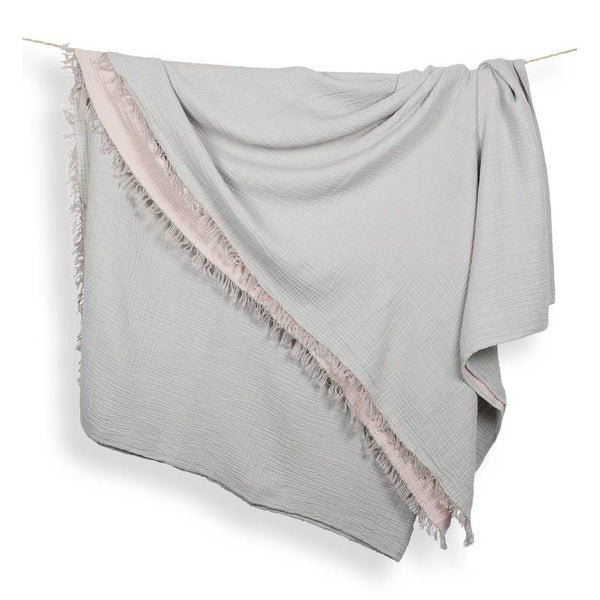 Crinkle Muslin Cotton Blanket - Grey/Pink