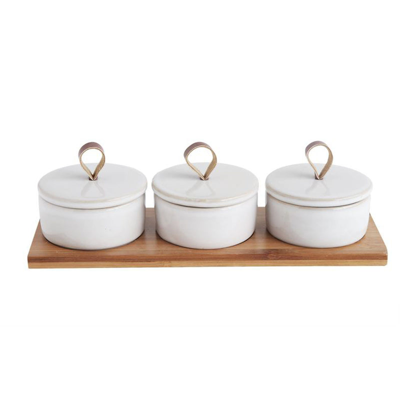 Stoneware & Bamboo Serving Set