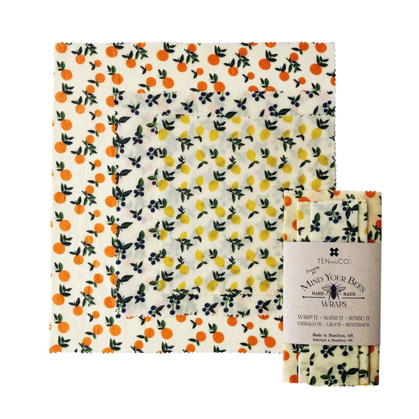 Vintage Fruit Beeswax Wrap 3-Pack