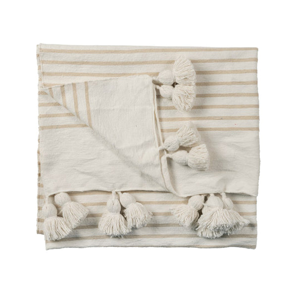 Moroccan Pom Pom Throw - Beige Striped