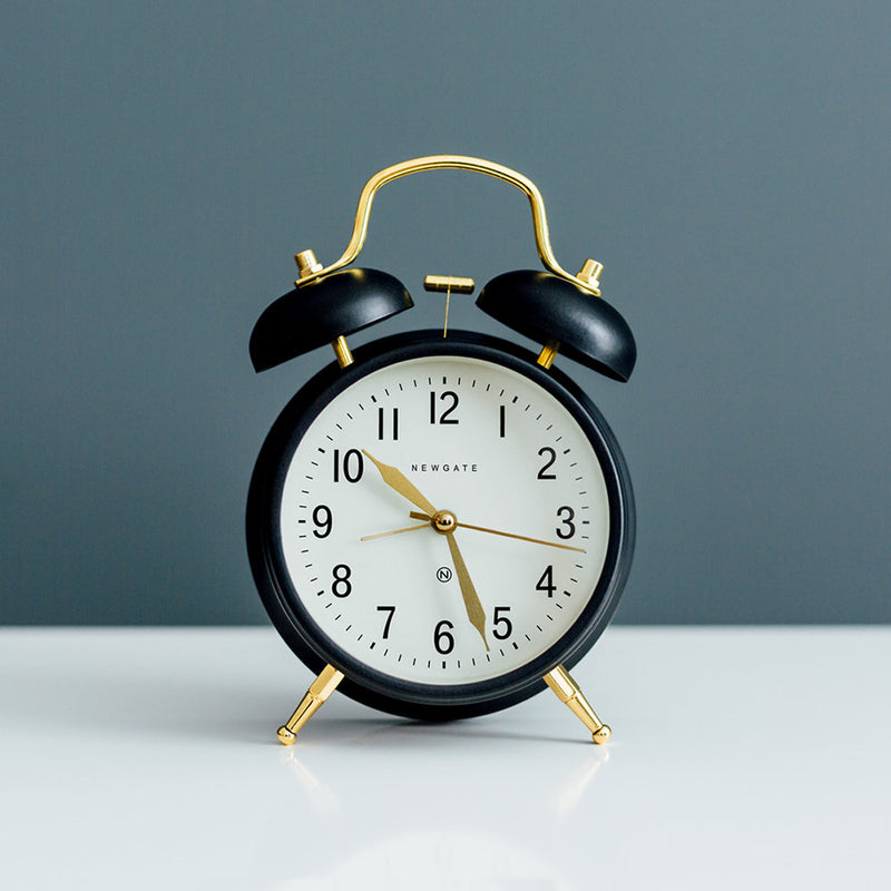 Brick Lane Alarm Clock - Black/Brass