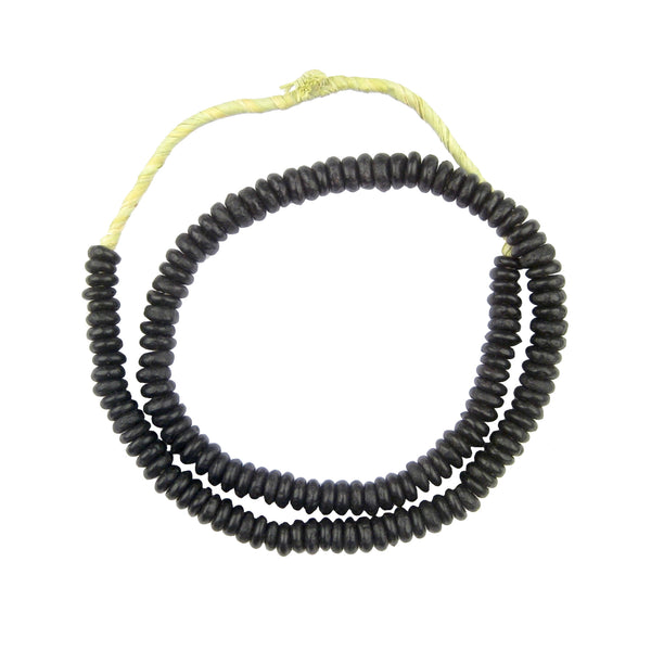 Black Rondelle Recycled Glass Beads