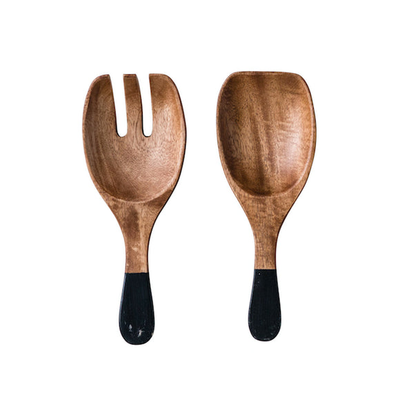 Hand Carved Serving Spoons - Black