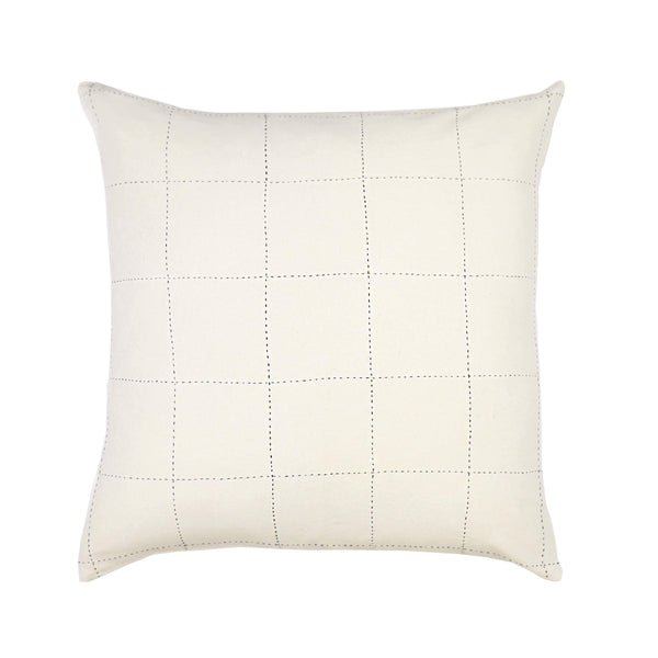 Grid-Stitch Pillow - Bone
