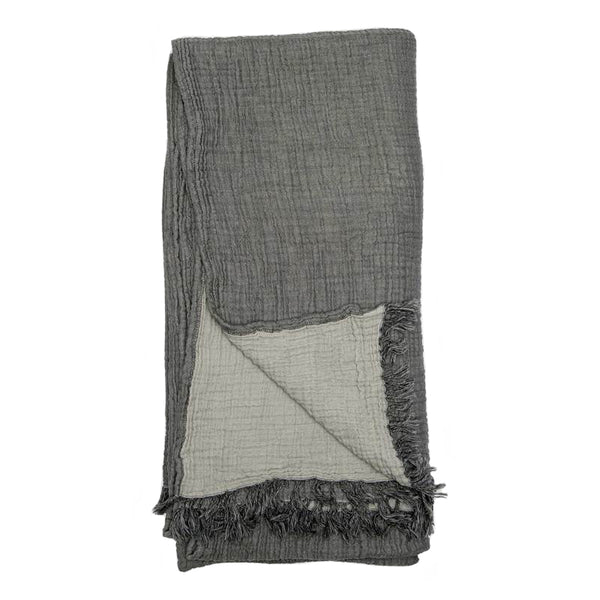Crinkle Muslin Cotton Blanket - Charcoal/Grey