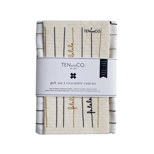 Sponge Cloth & Tea Towel Gift Set - Falala Black & Gold