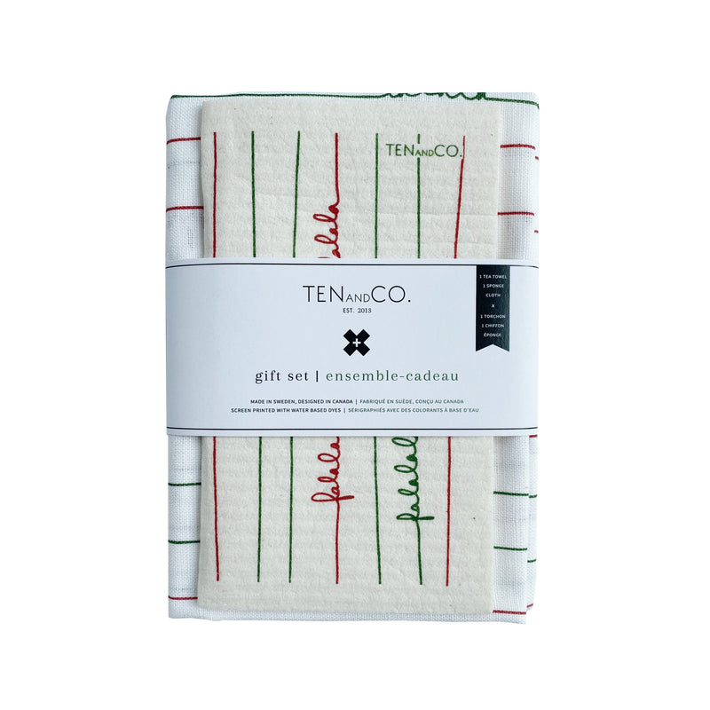 Sponge Cloth & Tea Towel Gift Set - Falala Red & Green