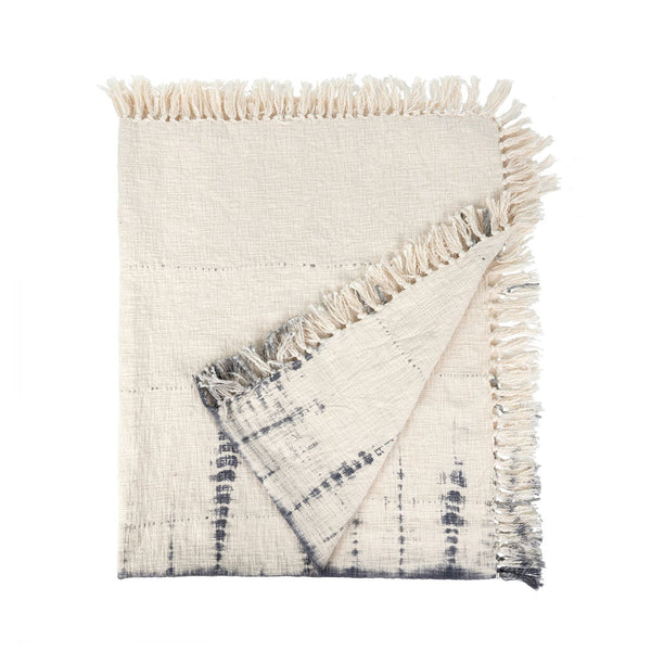 Shibori Fringe Throw - Indigo