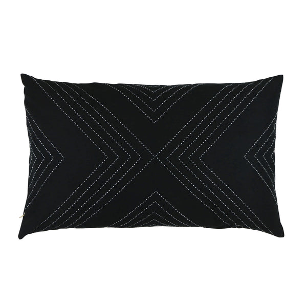 Geometric Stitch Lumbar Pillow - Charcoal