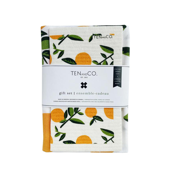 Sponge Cloth & Tea Towel Gift Set - Oranges