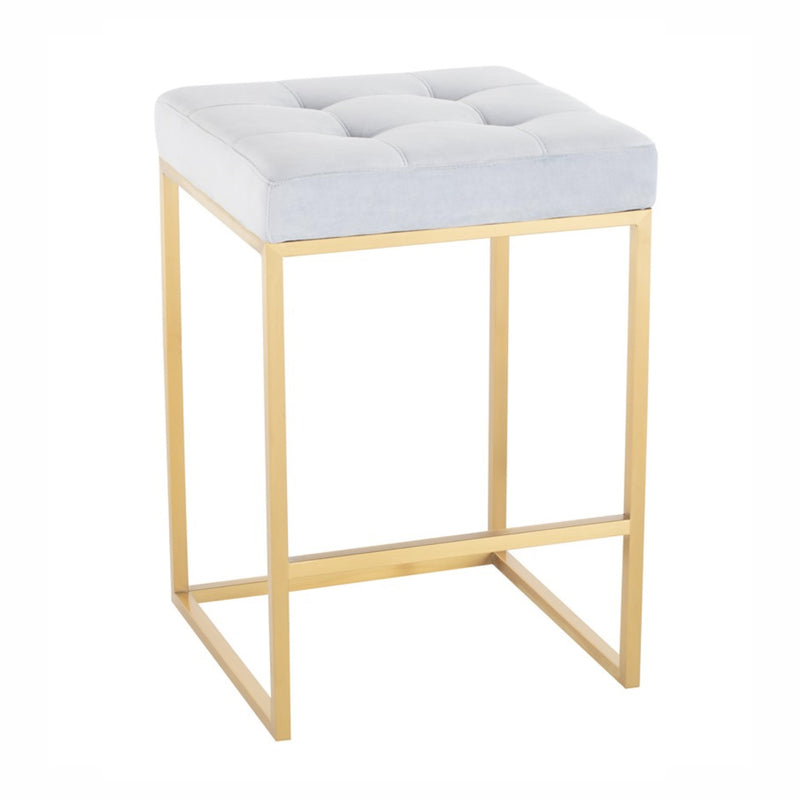 Chi Ice Blue Velvet Stool
