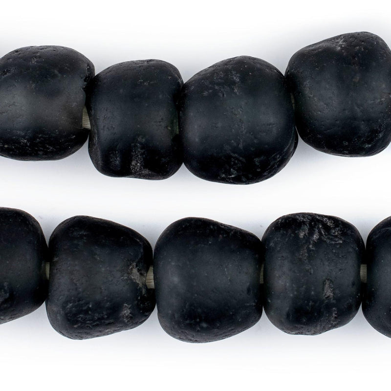 Charcoal Black Matte Recycled Glass Beads