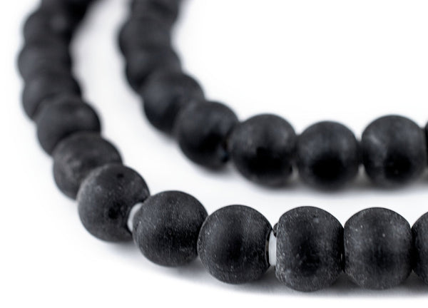Matte Black White Heart Beads