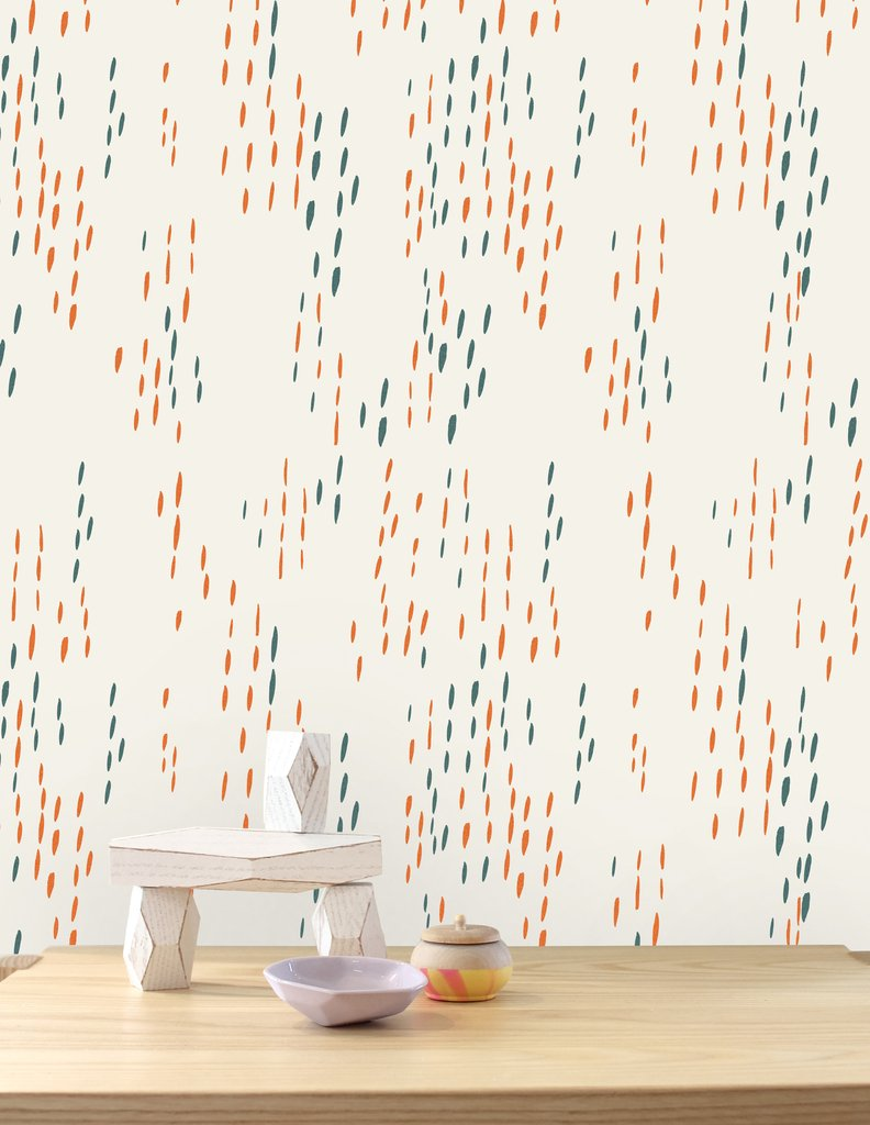 The Sou'Wester Wallpaper - Aquatic and Gloaming on Cream