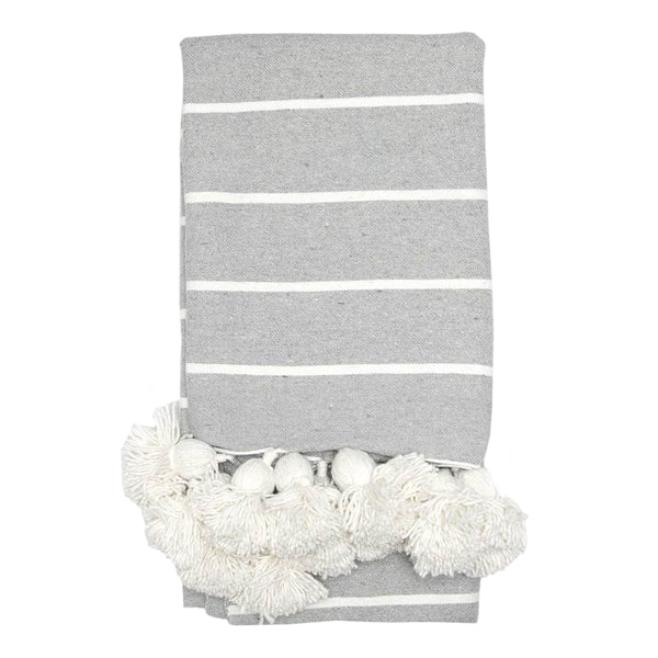 Moroccan Pom Pom Throw - Light Grey