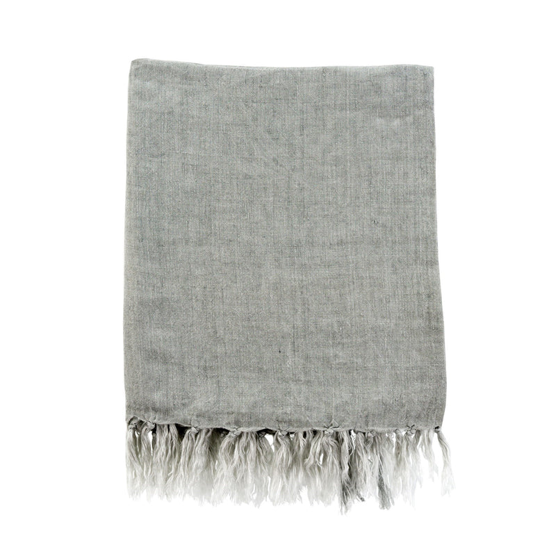 Lina Linen Throw - Grey