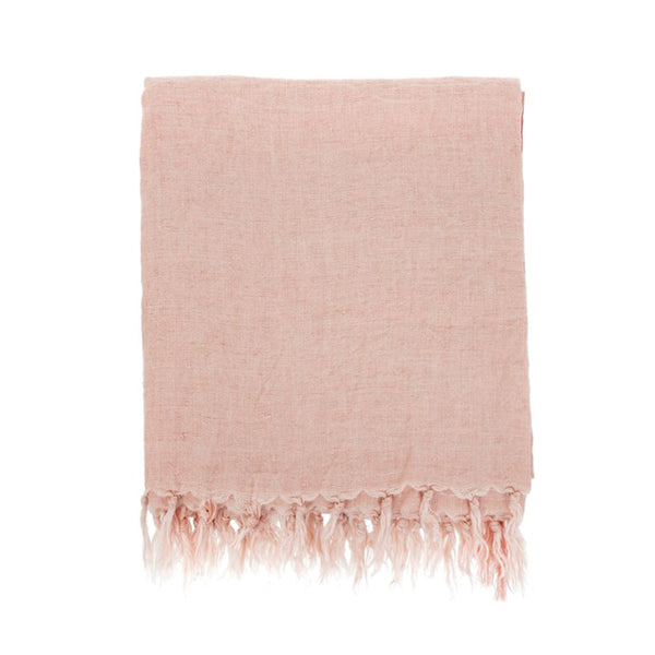 Lina Linen Throw - Peach Pink