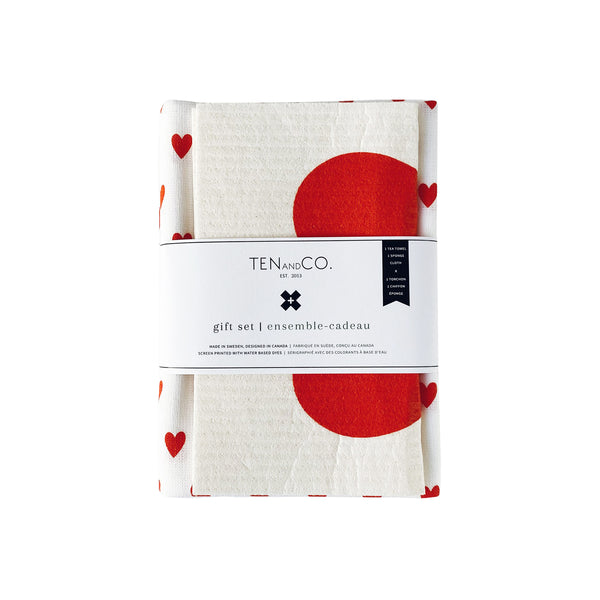 Sponge Cloth & Tea Towel Gift Set - Lots of Love