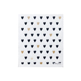 Sponge Cloth - Black & Gold Mini Hearts