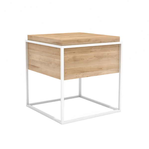 Oak Monolit Side Table - White