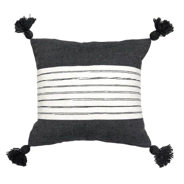 Moroccan Pom Pom Pillow - Belted Charcoal