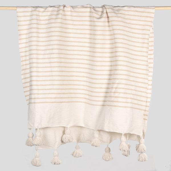 Moroccan Pom Pom Throw - Coco Striped