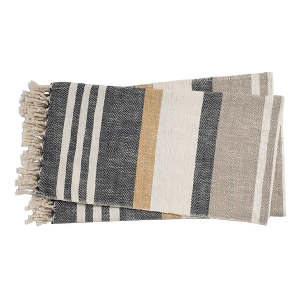 Charcoal/Multi Striped Throw