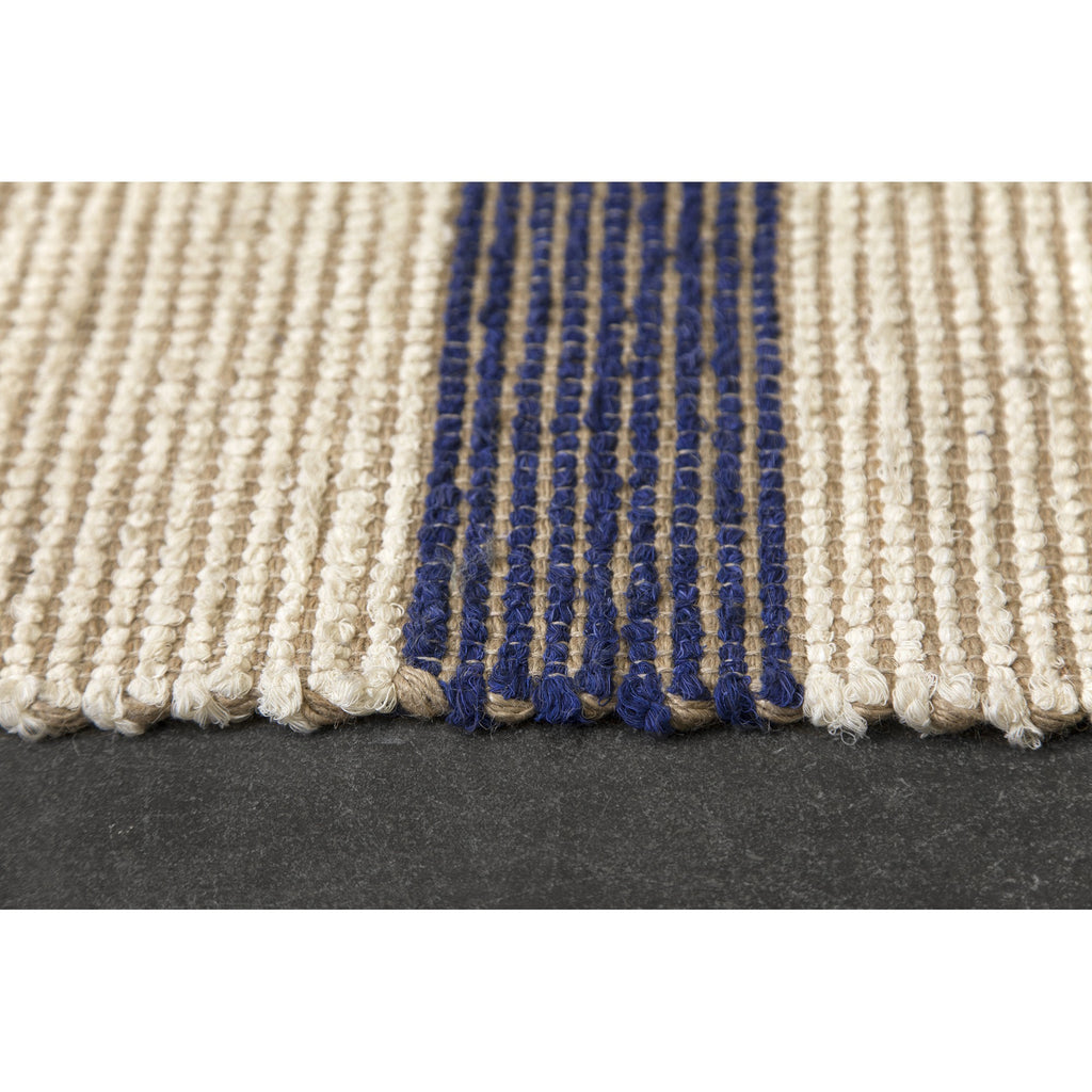 Blue Striped Jute Rug