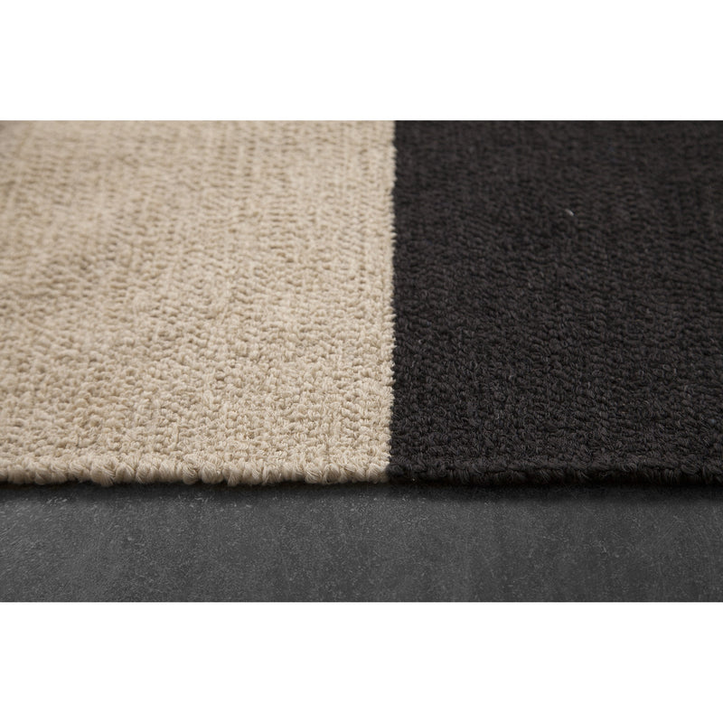 Black Colour Block Rug