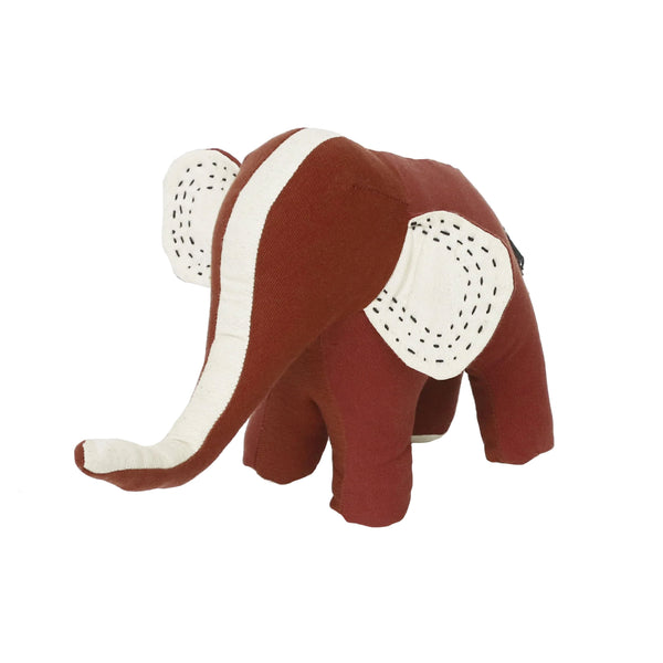 Kantha Stuffed Elephant - Rust