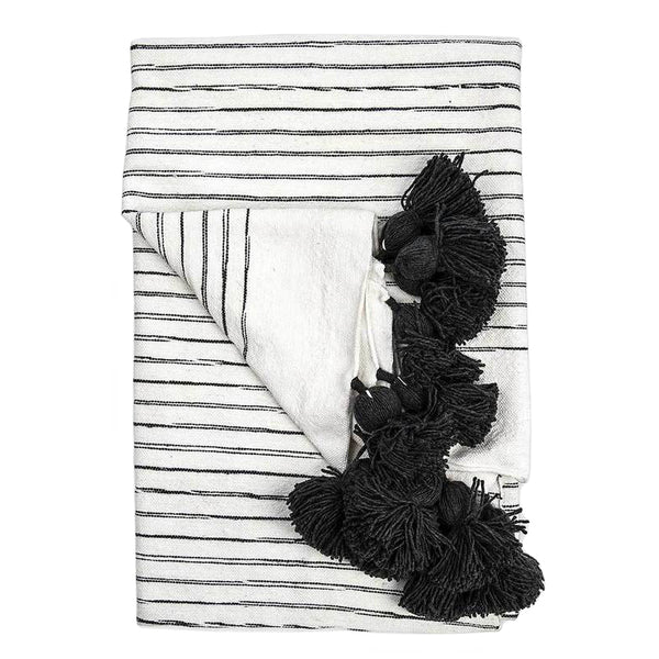 Sketched Charcoal Pom Pom Blanket