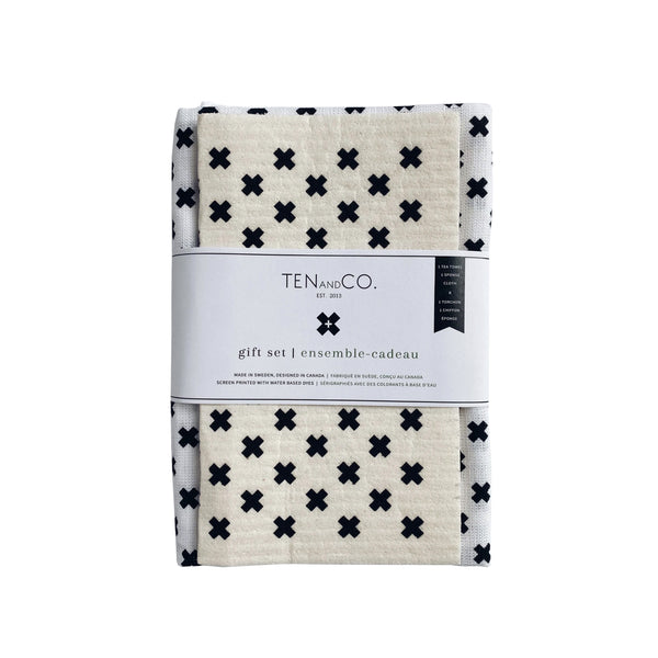 Sponge Cloth & Tea Towel Gift Set - Tiny X White