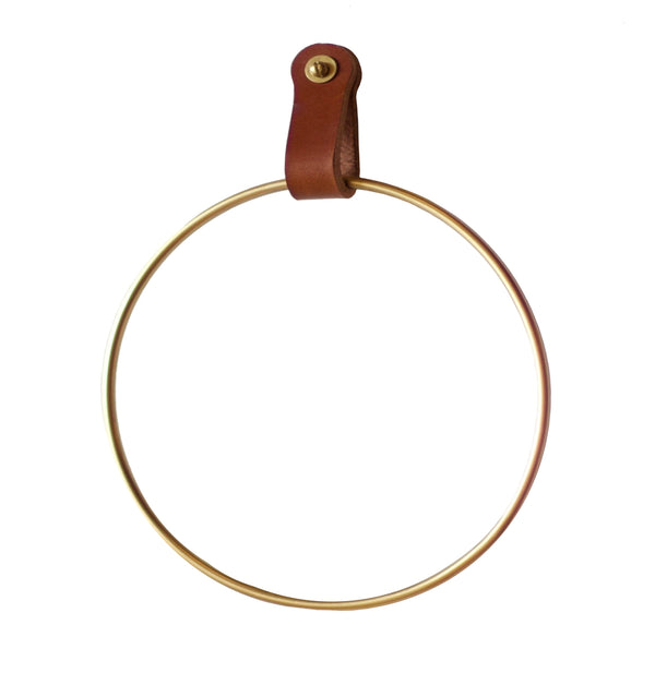 Lowell Brown Leather Towel Ring