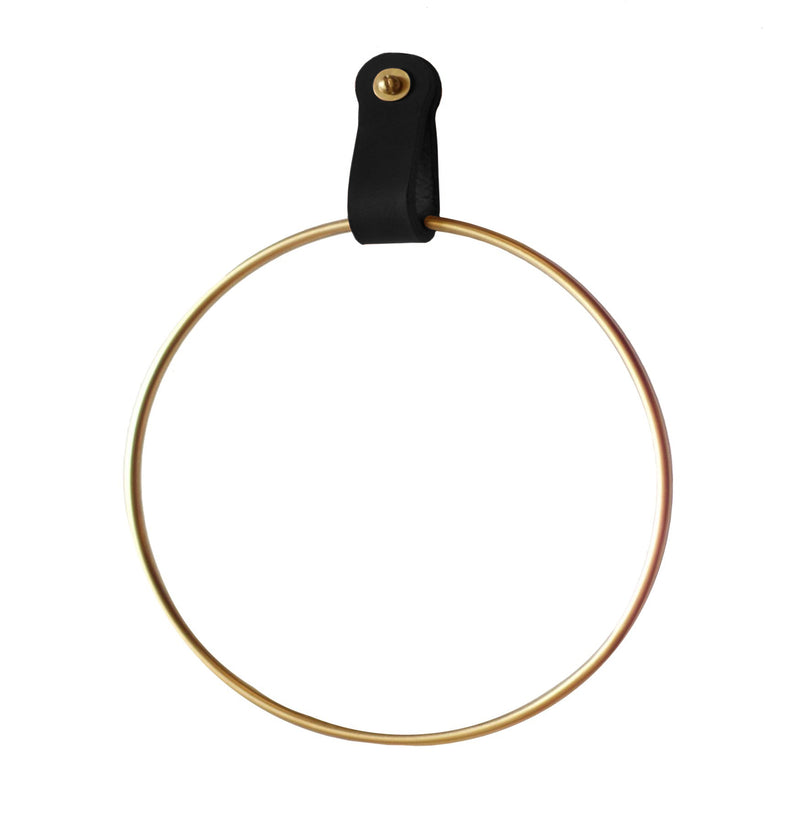 Lowell Black Leather Towel Ring