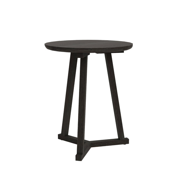 Oak Tripod Side Table - Black
